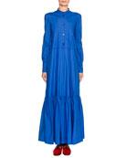 Double J Long-Sleeve Tiered Maxi Shirtdress