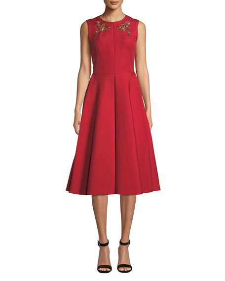 Zac Posen Floral-Embroidered Beaded A-Line Dress with Pockets