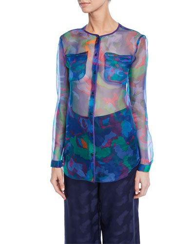 Floral Print Semisheer Chiffon Button-Front Blouse