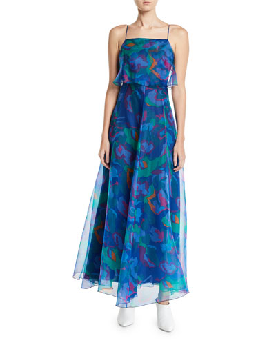 Square-Neck Floral Print Chiffon Long Dress