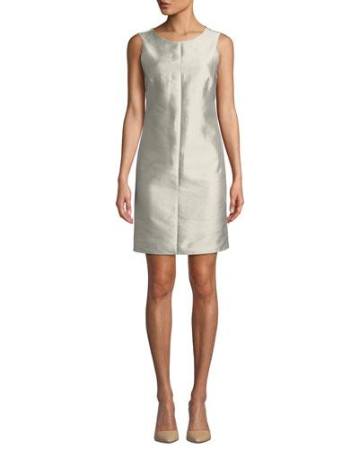 a576a8a5dc63 Quick Look. Emporio Armani · Chalk Sleeveless Cotton-Silk Sheath Dress