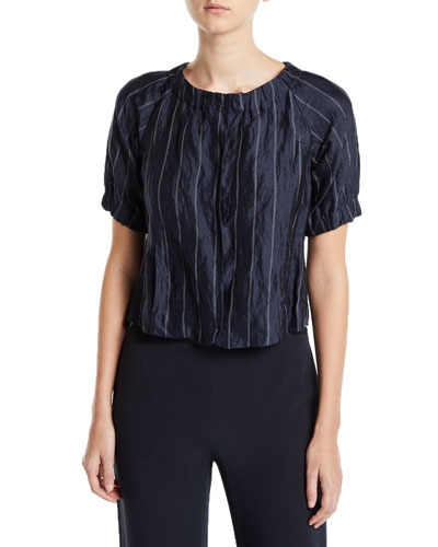 Striped Crinkled Button-Front Blouse