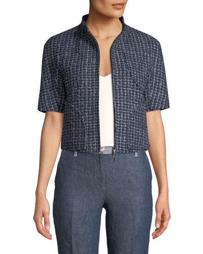 1/2-Sleeve Zip Front Tweed Jacket