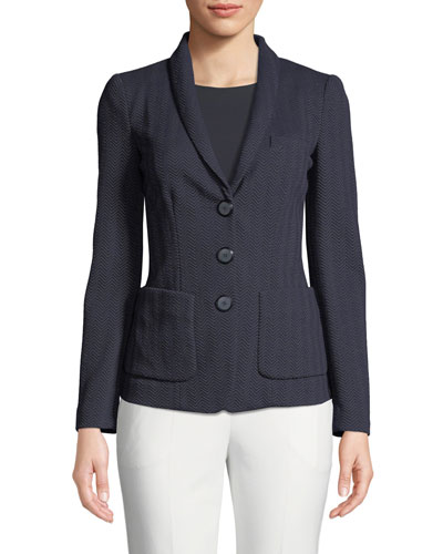 Herringbone-Jersey 3-Button Blazer Jacket