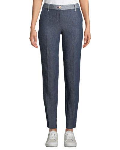 Slim-Leg Linen-Denim Pants