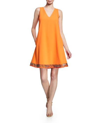 Bugle-Beaded Sleeveless Silk-Cady A-Line Dress