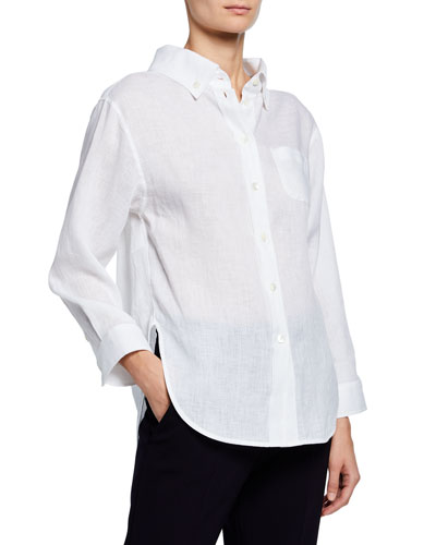 High-Low Linen Front Shirt