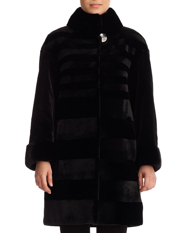 GORSKI Reversible Sheared Mink Stroller Coat in Black