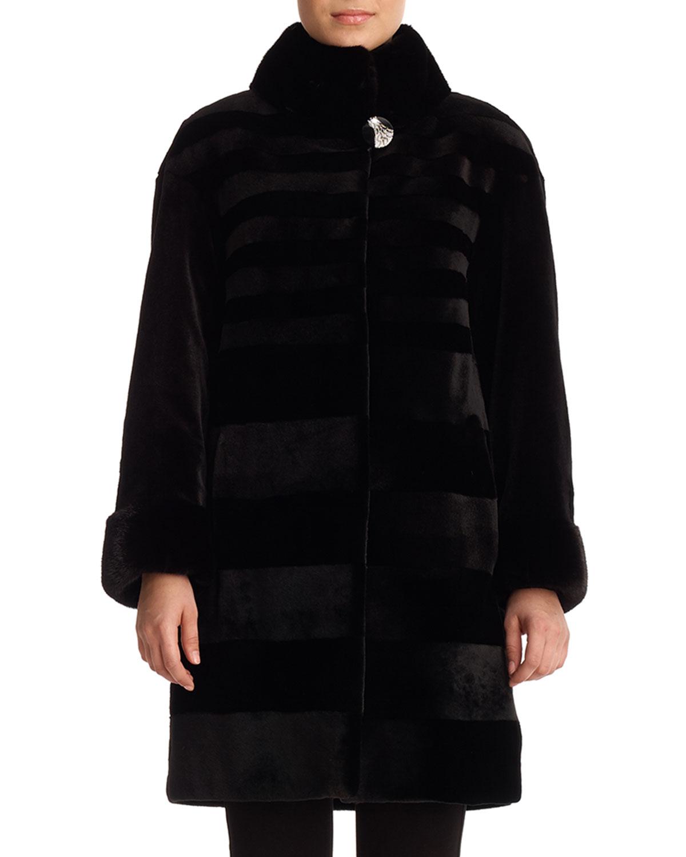 GORSKI Diagonal Sheared Mink Fur Stroller Coat in Charcoal