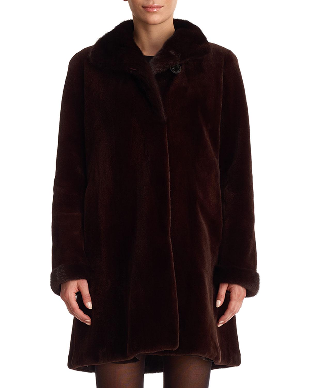 GORSKI Reversible Mink Fur Stroller Coat in Black