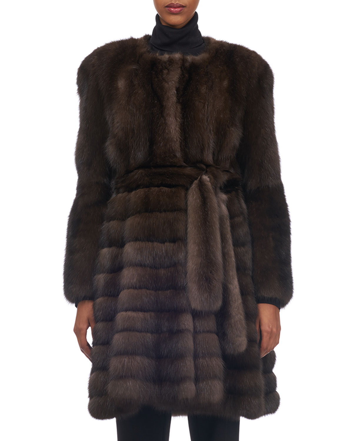 TSOUKAS Belted Vertical Sable Fur Stroller Coat With Horizontal Flare Skirt in Brown