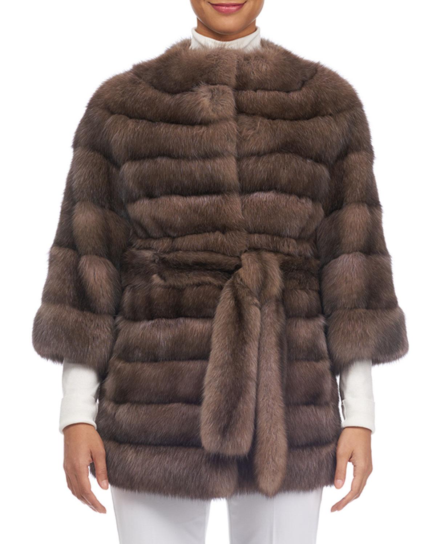 TSOUKAS Barguzin Horizontal Sable Fur Stroller Coat in Brown