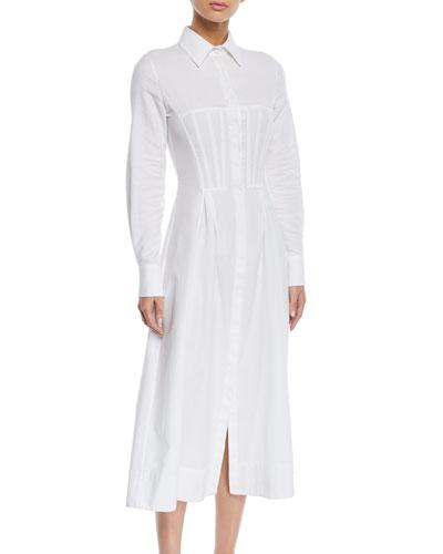 Eugene Long-Sleeve Corset Shirtdress