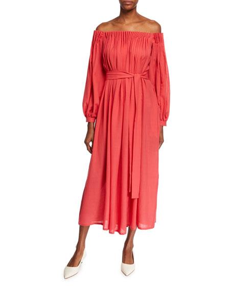 Gabriela Hearst Otalora Off-The-Shoulder Long-Sleeve Wool/Cashmere Gauze Dress