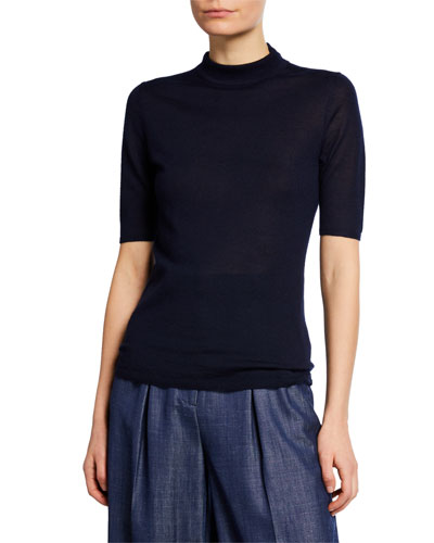 Hugo Cashmere-Silk Mock-Neck Top