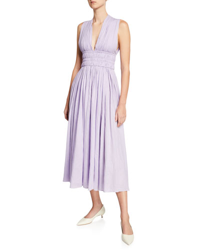Rotlein Sleeveless Ruched Aloe Linen Dress