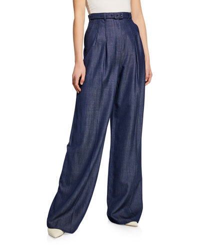 Vargas Wide-Leg Pleated Front High-Rise Pants