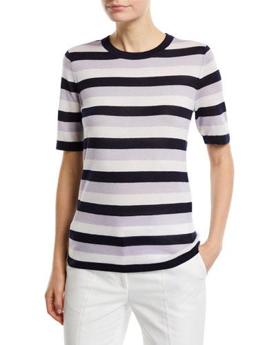 Fergus Striped Cashmere/Silk Sweater Top
