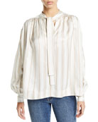 Co Tie-Neck Striped Twill Poet Blouse