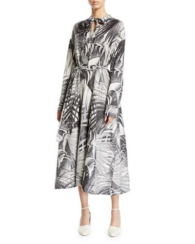 Long-Sleeve Palm Print Tie Neck Dress