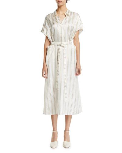 Striped-Twill Shirtdress