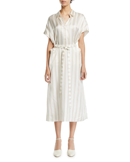 Co Striped-Twill Shirtdress