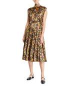 Co Sleeveless Mock-Neck Floral Silk Dress