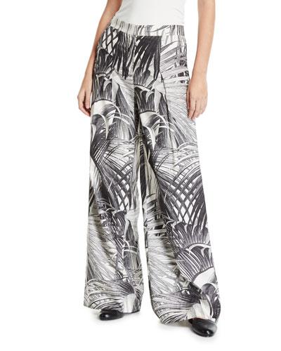 Palm Print Wide-Leg Trousers