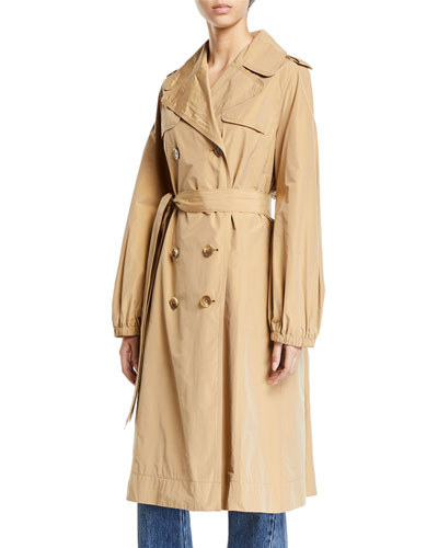 Double-Breasted Gathered Trench Coat