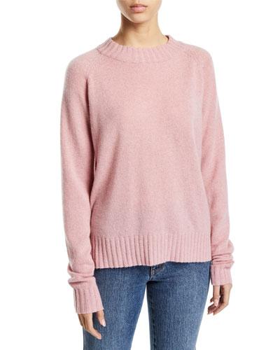 Raglan-Sleeve Cashmere Crewneck Pullover Sweater
