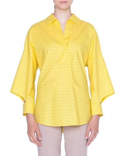 Cotton Laser-Cut Kimono Blouse