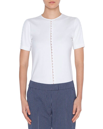 Memphis Scallop Border Cotton Shirt