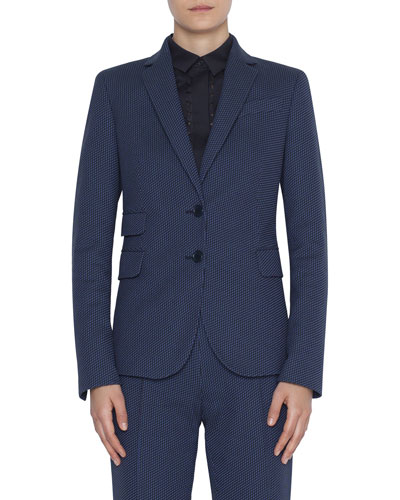 Dot-Jacquard Stretch Cotton Blazer