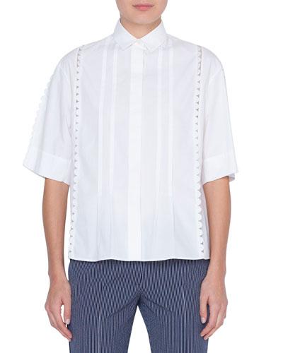 Stretch-Cotton Kent-Collar Button Front Blouse, Cream