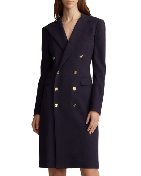 Ralph Lauren Collection Wellesley Double-Breasted Wool Coat Dress