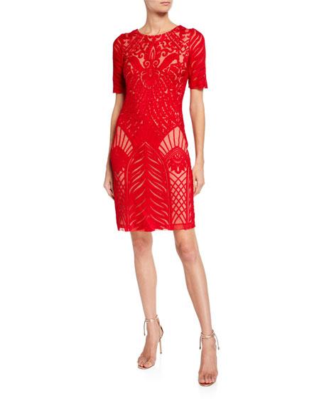 Galvan Atlas Short-Sleeve Embroidered Tulle Mini Dress
