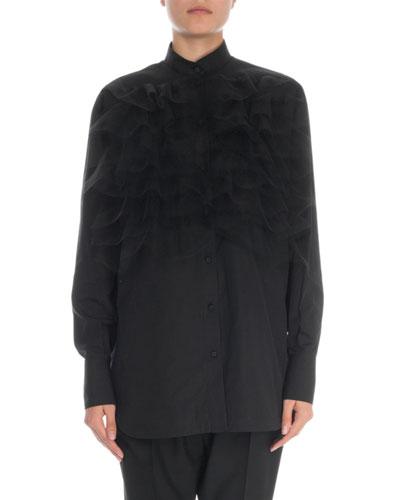795d44eb3745c8 Ruffled Cotton Blouse | Neiman Marcus