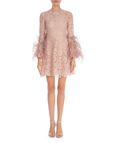Feather-Cuff Heavy Lace Mini Dress