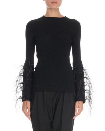 Feather-Cuff Crewneck Sweater