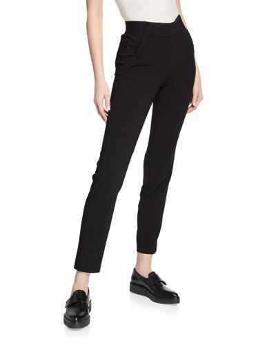b3f497184662 Black Stretch Wool Ankle Pants