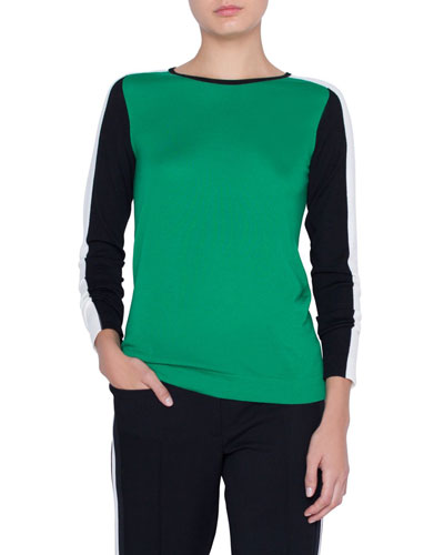 Tricolor Merino Wool Pullover Sweater