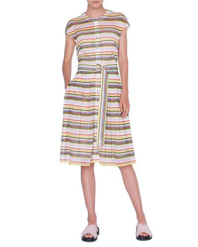 Memphis Glass Striped Mesh Shirtdress