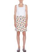 Akris punto Memphis Printed Stretch-Cotton A-line Skirt