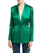 CUSHNIE Open-Back Silk Drawstring Jacket