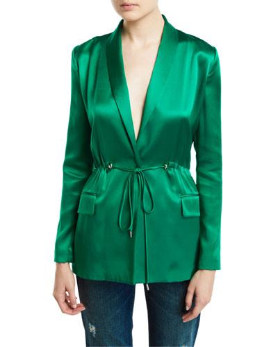 Open-Back Silk Drawstring Jacket