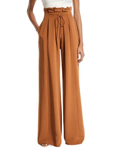 Paperbag-Waist Wide-Leg Pants