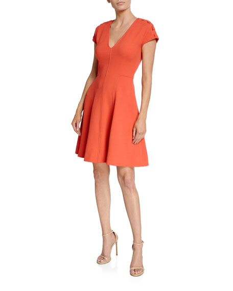 Lela Rose Seamed Fit-and-Flare Dress