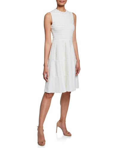 Tweed-Striped Sleeveless Tiered Knit Dress