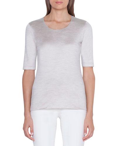 1/2-Sleeve Silk-Jersey T-Shirt