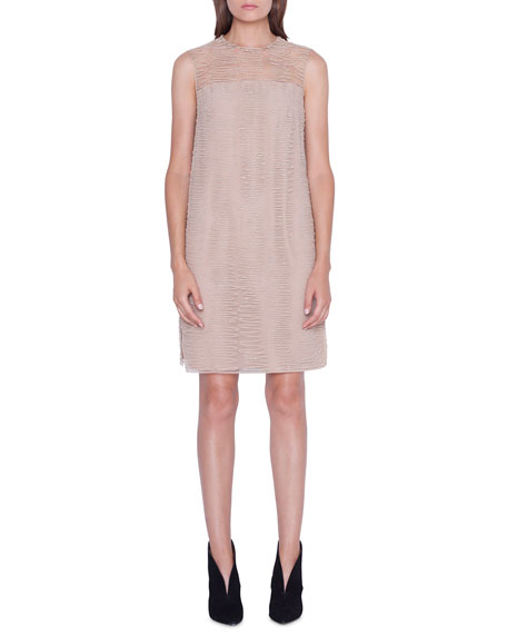 Akris Sleeveless Scribble-Embroidered Tunic Dress